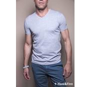 Haze & Finn t-shirt V Melange licht grijs (ME-0001)