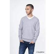 Haze & Finn Pullover Knit V Melange licht grijs (ME-0200)