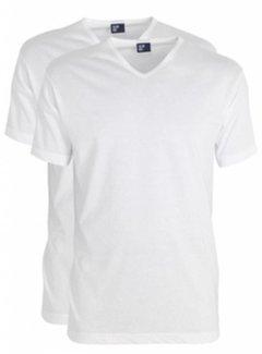 Alan Red T-shirt Vermont 2 pack V-hals Extra Lang + 5cm Wit (5671)