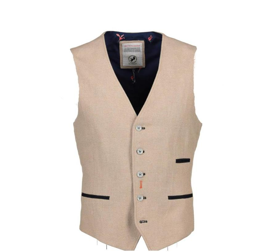 A Fish Named Fred gilet cotton linnen beige (81.125 - 203)