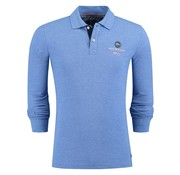 New Zealand Auckland lange mouw polo Marahau royal blauw (18GN207 - 341)