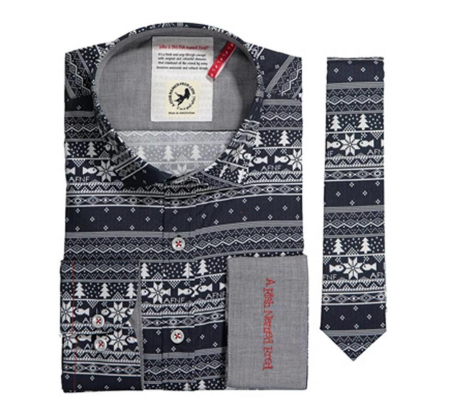 overhemd + stropdas blue christmas (74.001)