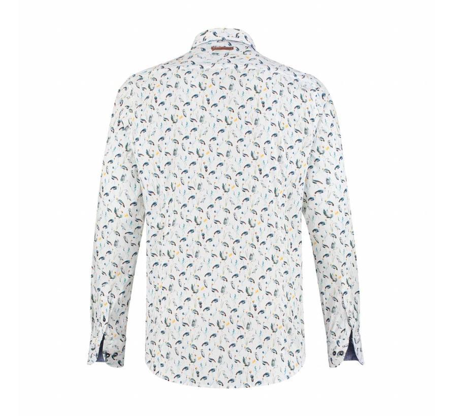 Overhemd african birds wit (91.01.038)