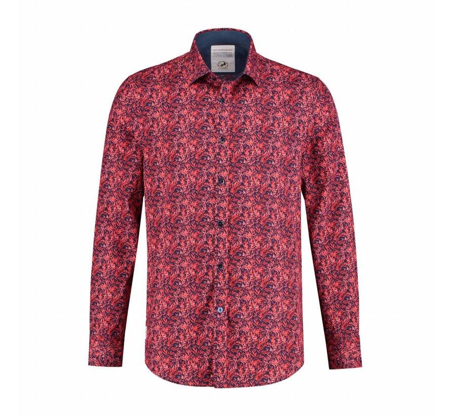 Overhemd leaves rood (91.01.057)