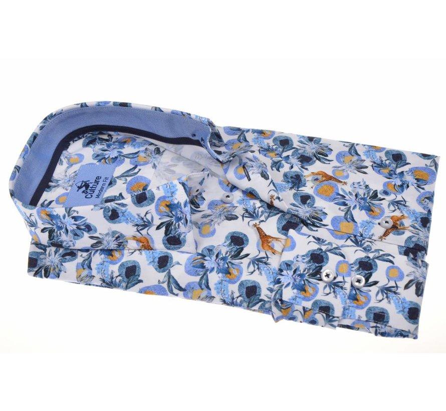 overhemd Modern Fit Jungle print Blauw (214934 - 35)