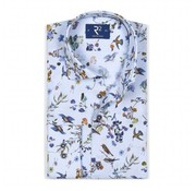 R2 Amsterdam Overhemd Extra Mouwlengte print Bloemen Blauw (104.WSP.XLS.112 - 018)