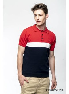 Haze&Finn Polo streep Navy/Wit/Rood (MC11-0212 - navy/rood)