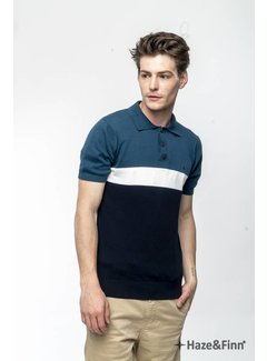 Haze&Finn Polo streep Navy/Wit/Blauw(MC11-0212 - navy)