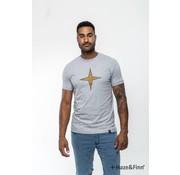 Haze & Finn T-shirt Logo print Grijs (MU11-0014 - grey)