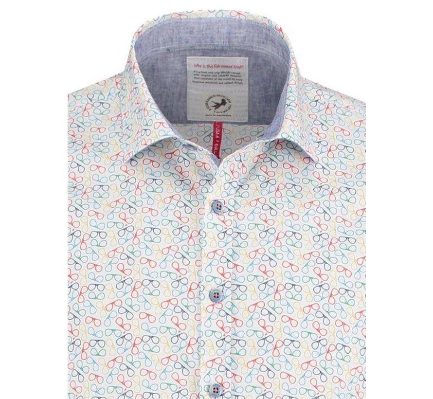overhemd Brillen print Wit (91.02.008)