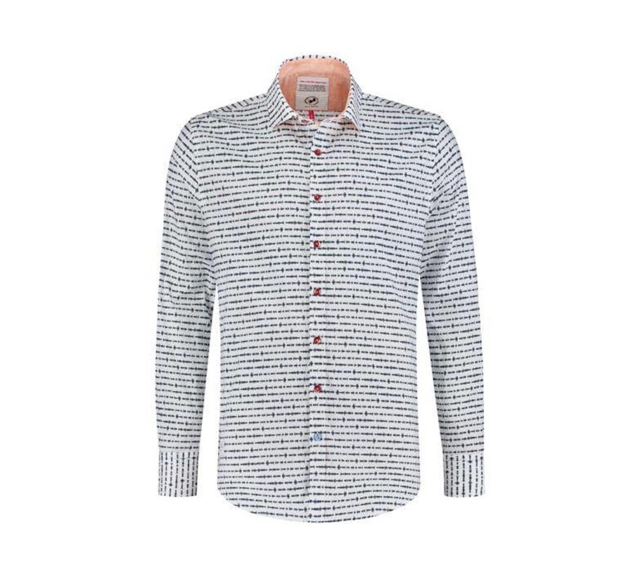 overhemd Geluidsgolven print Wit (91.02.018)