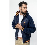 Haze & Finn Jacket combi hooded Navy Blauw (MU11-1003)