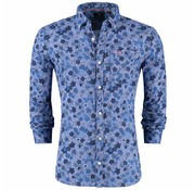 New Zealand Auckland Overhemd Pataua Spring Blauw Print (19AN524 - 292)