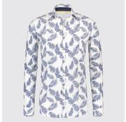Blue Industry Overhemd linnen print Bladeren Wit (1225 - 91)