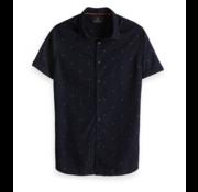 Scotch & Soda Korte Mouw Overhemd Navy Print (148930 - 0220)