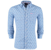 New Zealand Auckland Overhemd Tapora Blauw print (19BN535 - 280)