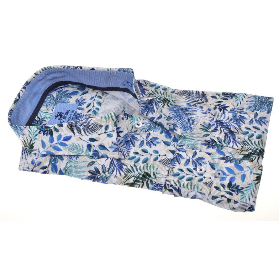 Overhemd Modern Fit print Blauw (214935 - 35)