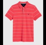 Gant Polo korte mouw streep Watermeloen Rood (2022058 - 648)