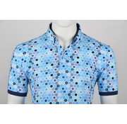 Culture Polo Button Down Modern Fit Print Blauw (215062 - 33)