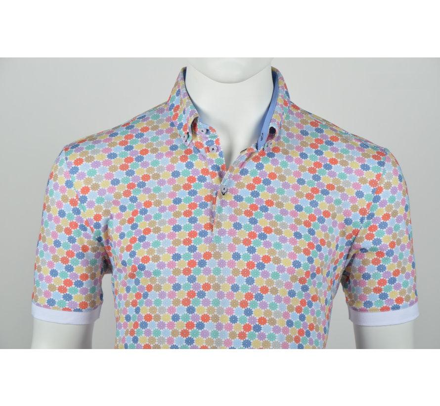 Polo Button Down Modern Fit Print Multicolor (215062 - 84)