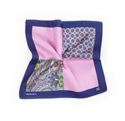 Tresanti Geprinte roze/blauwe pochet van zijde (TMHAAB001D)