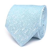 Tresanti Turquoise Blauw zijden das met linnen look (TCTICA027D)