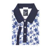 Tresanti Polo shirt piqué palm print lichtblauw (TCPODB001A)