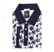 Tresanti Polo shirt piqué palm print navy (TCPODB001B)