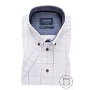 Ledub Overhemd Korte Mouw Modern Fit Ruit Lichtbruin (0137863-630-170-180)