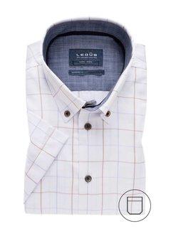 Overhemd Korte Mouw Modern Fit Ruit Lichtbruin (0137863-630-170-180)