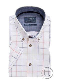 Ledub Overhemd Korte Mouw Modern Fit Ruit Wit (0137869-910-170-180)