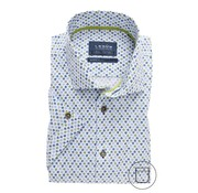 Ledub Overhemd Korte Mouw Modern Fit Print Lichtblauw (0137795-130-540-540)