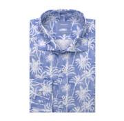 Tresanti Overhemd Tailored Fit Palmboomprint Blauw Met Wit (TCSHDA077A)