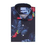 Tresanti Overhemd Korte Mouw Tailored Fit Tropische Print Navy (TCSHDA082A)