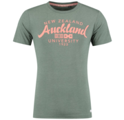 New Zealand Auckland T-Shirt Spring Army Groen Tekst  (19CN703 - 486)
