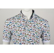 Culture Polo Modern Fit Print Wit (215055 - 10)
