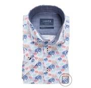Ledub Overhemd Korte Mouw Modern Fit Print Wit (0137909-910-170-180)
