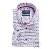Ledub Overhemd Korte Mouw Modern Fit Print Middenrood (0137795-460-460-540)