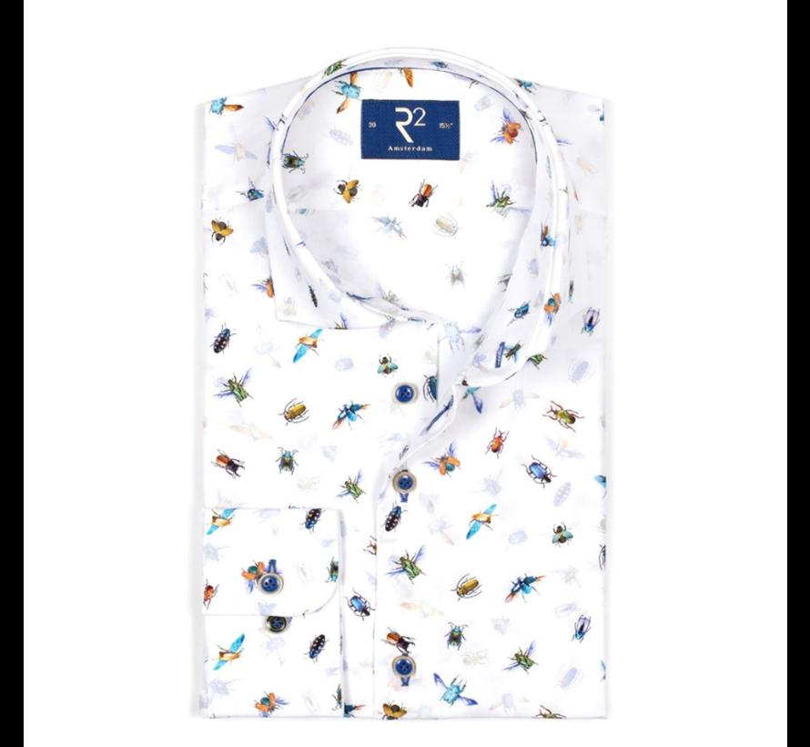 Overhemd Extra Mouwlengte.R2 Amsterdam Overhemd Extra Mouwlengte Print Wit 104 Wsp Xls 107