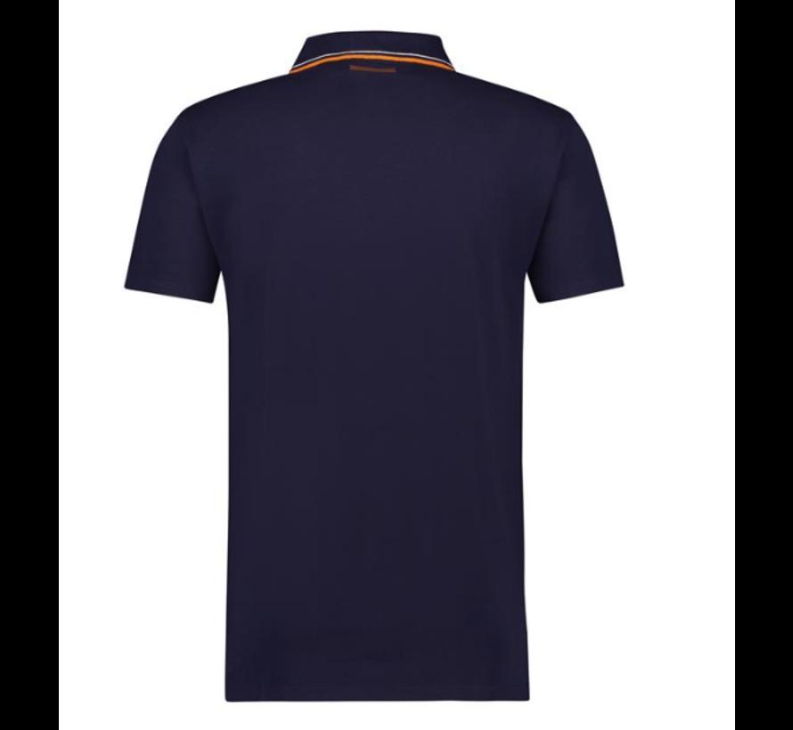 Polo Korte Mouw Navy/Oranje (91.04.302)