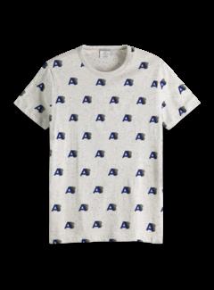 Scotch & Soda T-shirt Ronde Hals Grijs Print (151282 - 17)