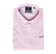 New Zealand Auckland Korte Mouw Overhemd Waireia Bloemen Print Roze (19DN501D - 686)