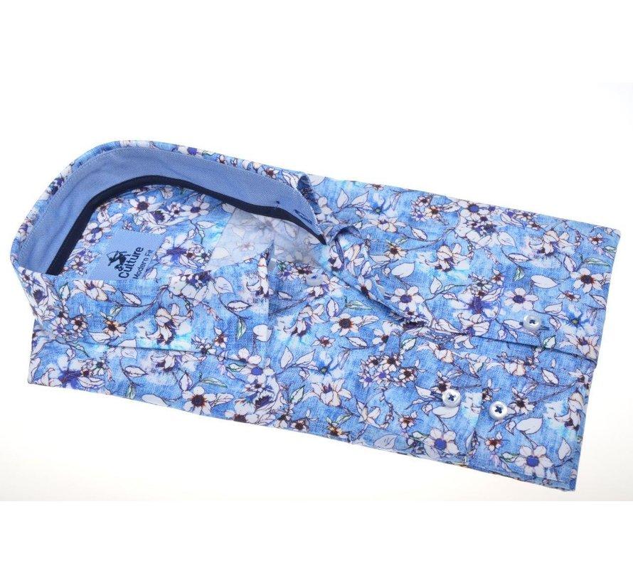 Overhemd Modern Fit Print Blauw (214913 - 32)