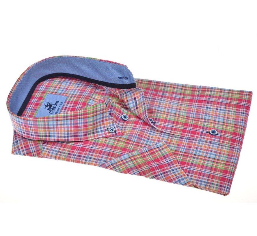 Overhemd Korte Mouw Modern Fit Multicolor Ruit (214806 - 84)