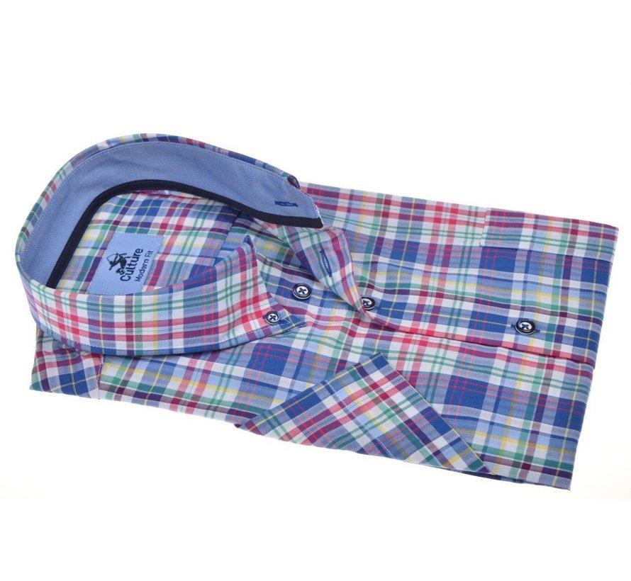 Overhemd Korte Mouw Modern Fit Multicolor Ruit (214807 - 35)