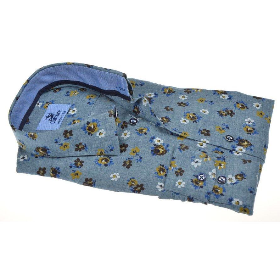 Overhemd Modern Fit Print Blauw (214945 - 33)