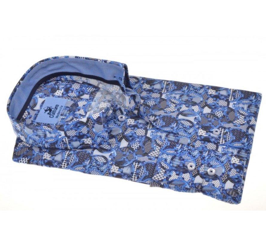 Overhemd Modern Fit Print Blauw/Grijs (214940 - 33)