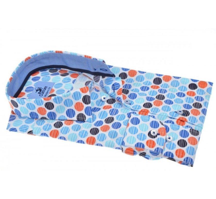 Overhemd Modern Fit Print Blauw (214949 - 34)