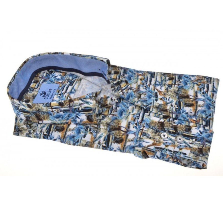 Overhemd Modern Fit Print Blauw/Groen (214936 - 64)
