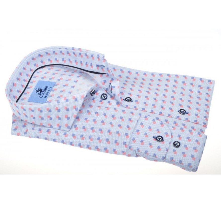 Overhemd Modern Fit Blauw/Rood (215035 - 85)